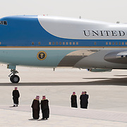 US President Barack Obama arrives aboard Air Force One at King Khalid International Airport in Riyadh, Saudi Arabia on 03 June 2009. Obama is attempting to open a dialogue with the Muslim world by visiting Abdullah and delivering a major speech in Cairo later this week.