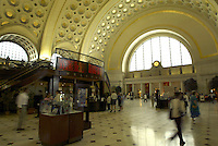 Jun 14, 2004; Washington DC, Washington, USA; Interior scenic view of Washington's Union Station near to the Capitol building along Massachusetts Ave. Transportation portal for Amtrak Trains, Metro, Buses, Taxi and other forms of transportation around the local area. Completed in 1908, open 24 hours a day 7 days a week.