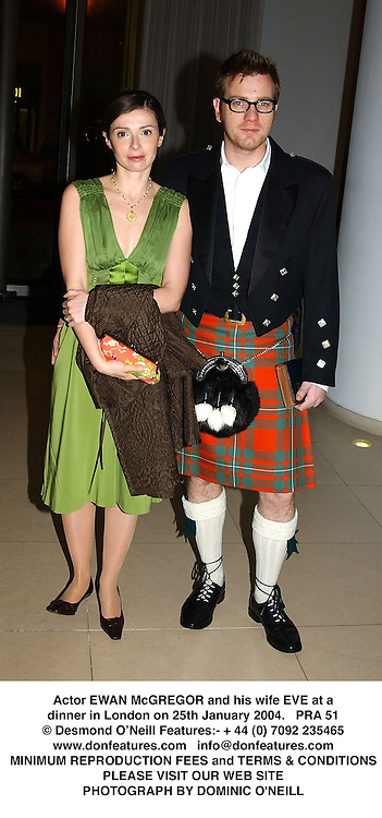 Actor EWAN McGREGOR and his wife EVE at a dinner in London on 25th January 2004.PRA 51