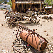 Antique wagons at the Eastern California Museum, 155 N. Grant Street, Independence, California, 93526, USA. The Museum was founded in 1928 and has been operated by the County of Inyo since 1968. The mission of the Museum is to collect, preserve, and interpret objects, photos and information related to the cultural and natural history of Inyo County and the Eastern Sierra, from Death Valley to Mono Lake.