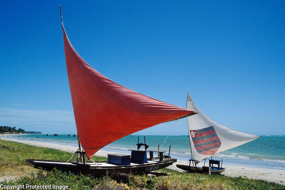 Fishing rafts called jangadas at Porto da Rua beach, Alagoas, Brazil.