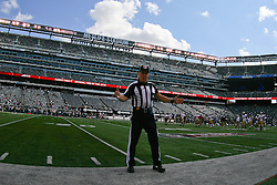 Sept 30, 2012; East Rutherford, NJ, USA; Head linesman John McGrath (5) before the game between the New York Jets and the San Francisco 49ers at MetLIfe Stadium.
