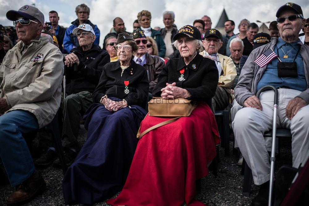 WWII veteran, Ellan  Levitsky Orkin 95 y/o (L) and Dorothy Levitsky-Sinner 97 y/o (R), volunteered w/sister, US Army Nursing Corps, in Picauville