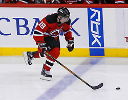 February 1, 2008; Newark, NJ, USA; New Jersey Devils center Sergei Brylin (18) skates with the puck during the third period at the Prudential Center in Newark, NJ.  The Rangers defeated the Devils 3-1.
