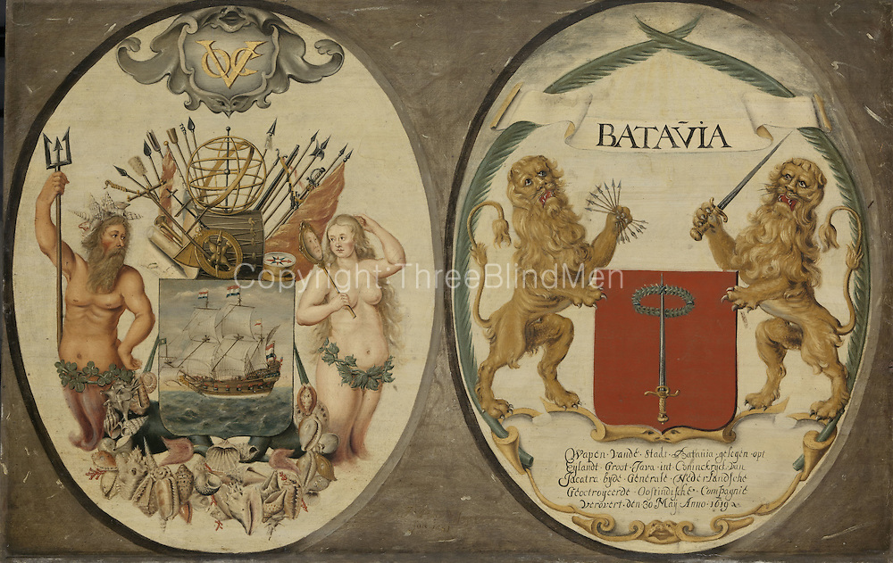 The Arms of the Dutch East India Company and of the Town of Batavia, Jeronimus Becx (II), 1651<br /> <br /> oil on panel, h 63cm &times; w 97cm. More details<br /> <br /> These shields feature the arms of the Dutch East India Company, ornamented with Neptune and a mermaid, and those of Batavia, flanked by Dutch lions. According to the inscription on the latter, the city of Jacatra (now Jakarta) was &lsquo;Conquered on 30 May in the year 1619&rsquo;. That same year Governor-General Jan Pietersz Coen renamed it Batavia and built a castle with dockyards, warehouses and offices.