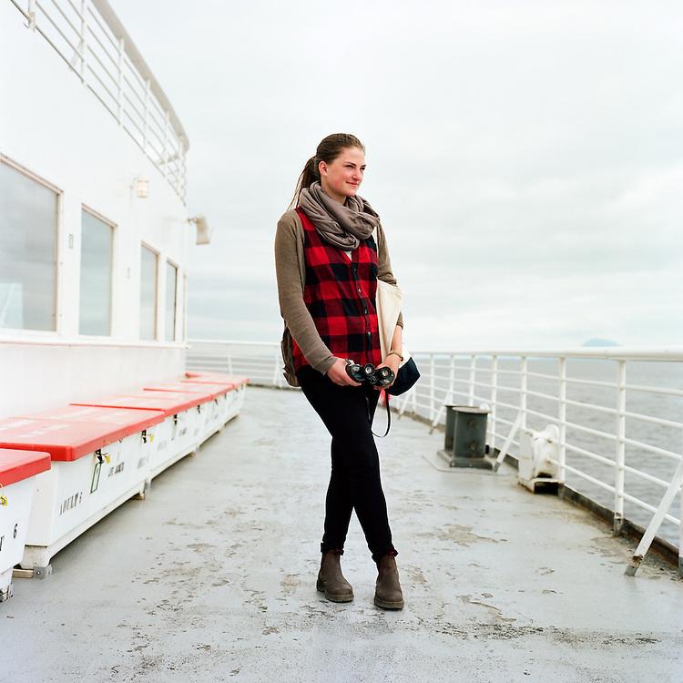 SOUTHEAST, ALASKA - 2014: On board the Malaspina, traveling through Southeast, Alaska on the Alaska Marine Highway System.