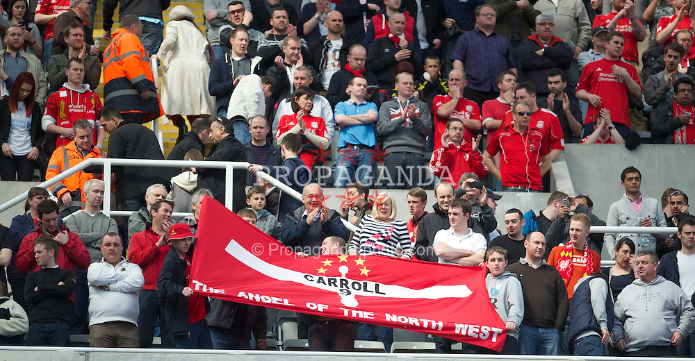 """NEWCASTLE-UPON-TYNE, ENGLAND - Sunday, April 1, 2012: Liverpool's supporters' banner """"Andy Carroll - The Angel Of The North West"""" before the Premiership match against Newcastle United at St James' Park. (Pic by David Rawcliffe/Propaganda)"""