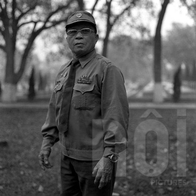 Portrait of an old military soldier in Dien Bien Phu.