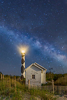 Cape Lookout Lighthouse and Milky Way on the Corer Banks of North Carolina.