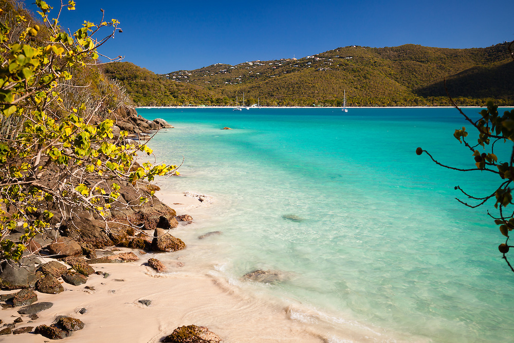 The largest and most popular tourist beach in St. Thomas(USVI), gorgeous Magen's Bay. This view was taken from halfway down the northside of the bay at Platform Beach.