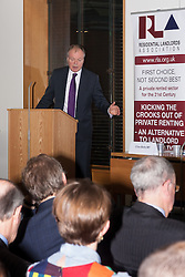 Portcullis House, Westminster, London, January 14th 2014. Members of the Residential Landlords Association attend the launch of their Policy Manifesto and hear views from MPs. PICTURED: Clive Betts MP addresses the gathering.