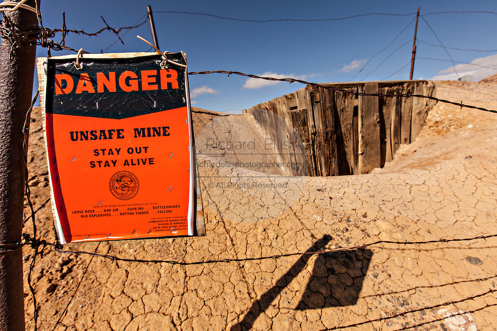 Old abandoned gold mine in former boomtown turned ghost town Goldfield, Nevada, USA