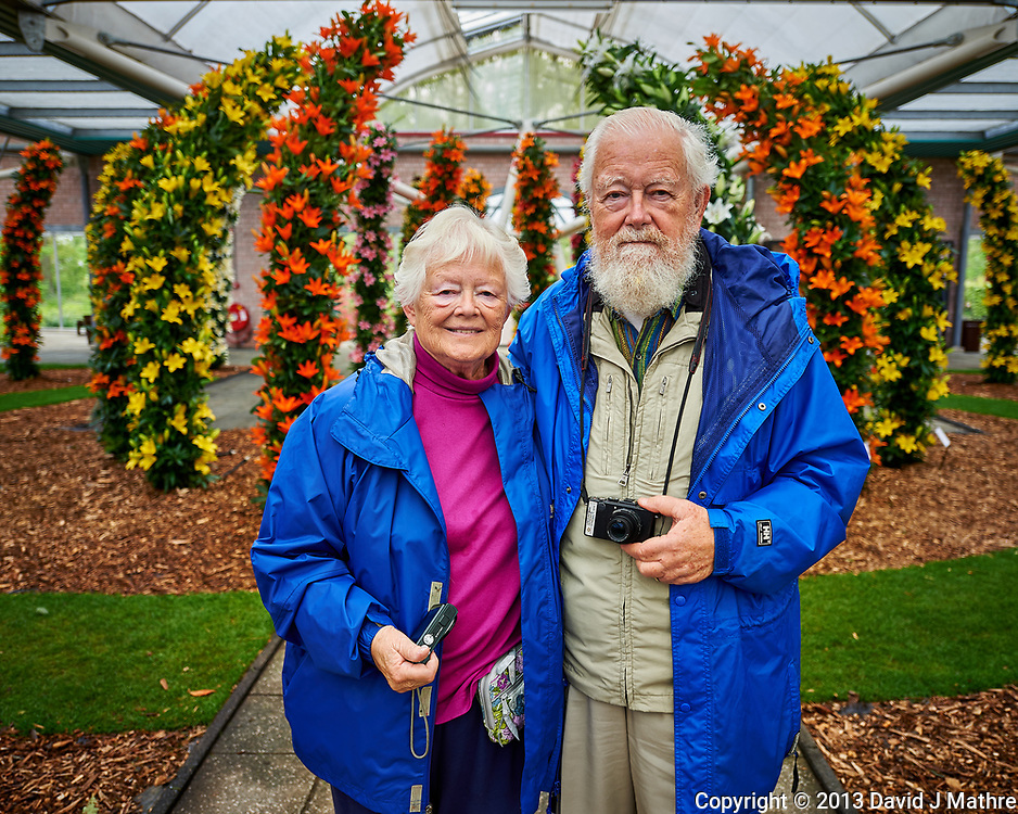 Joan and Loren at the Lily arch. Tulip festival at Keukenhof Gardens in Lisse, Netherlands. Image taken with a Nikon D4 camera and 14-24 mm f/2.8 lens.