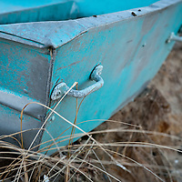 Blue row boat on the beach in Chatham, MA, Cape Cod