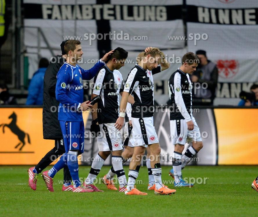 Football: Germany, DFB-Pokal, Eintracht Frankfurt - Borussia Dortmund, Frankfurt, 11.02.2014<br /> Frankfurt-players looks dejeceted<br /> &Atilde;'&Acirc;&copy;&Atilde;'&Acirc;&nbsp;pixathlon