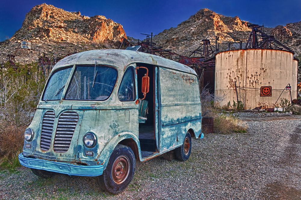 Vintage Metro Van At Sunset - Eldorado Canyon Techatticup Mine - Nelson NV - HDR