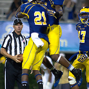 Delaware Wide receiver Rob Jones #5 celebrates his second touch down of the game in the end zone after scoring on a 63 yard reception during a Week 1 NCAA football game against West Chester. ..#15 Delaware defeated West Chester 41-21 in their home opener at Delaware Stadium Thursday Aug. 30, 2012 in Newark Delaware...Delaware will return home Sept. 8, 2012 at 3:30pm for a showdown with interstate Rival Delaware State in the Route 1 Rivalry Bowl at Delaware Stadium.