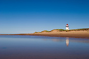 Covehead Lighthouse, beach and sand dunes; Prince Edward Island, Canada.