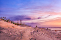 Sand dunes and sky early morning in Nags Head on the Outer Banks NC.