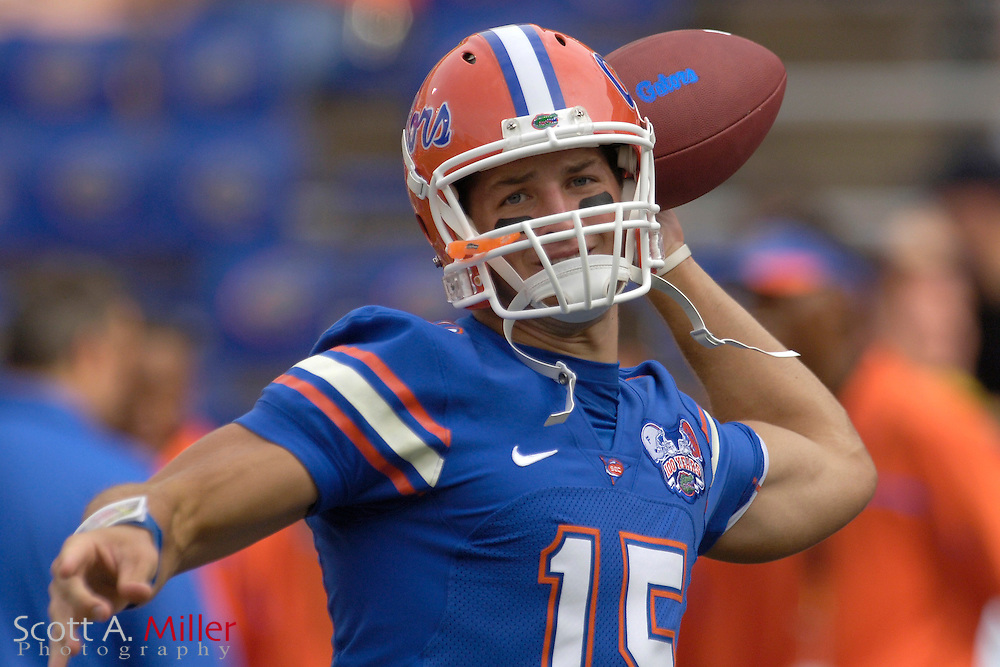 Sept. 9, 2006; Gainesville, FL, USA; Florida Gators quarterback Tim Tebow warms up prior to the start of the Gators' game against the UCF Golden Knights at Ben Hill Griffin Stadium. ...©2006 Scott A. Miller