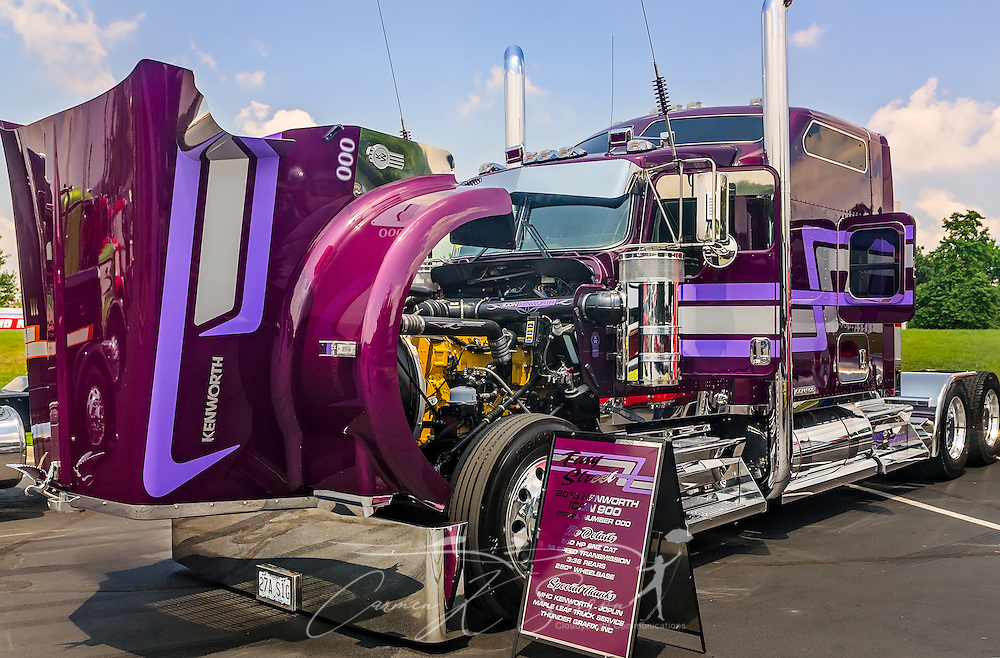 "Kyle Cousins' 2015 Kenworth Icon 900, ""Easy Street,"" is displayed at the 34th annual Shell Rotella SuperRigs truck beauty contest, June 11, 2016, in Joplin, Missouri. SuperRigs, organized by Shell Oil Company, is an annual beauty contest for working trucks. Approximately 89 trucks entered this year's competition. (Photo by Carmen K. Sisson/Cloudybright)"