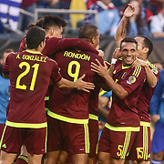 Venezuela Attacker SALOMON RONDON (9), center, celebrates his goal with his teammates in the first half of a Copa America Centenario Group C match between Uruguay and Venezuela Thursday, June. 09, 2016 at Lincoln Financial Field in Philadelphia, PA.