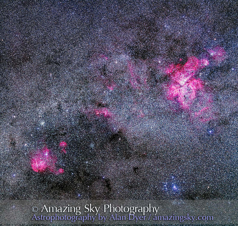 A mosaic of the amazingly rich area of Carina and Centaurus with their many superb nebulas and star clusters in this southernmost area of the Milky Way. <br /> <br /> The Carina Nebula (NGC 3372) is at upper right; the Running Chicken Nebula (IC 2948) is at lower left (aka the Lambda Centauri Nebula). The small red and magenta nebulas at centre are NGC 3603 and NGC 3576. <br /> <br /> The Southern Pleiades cluster (IC 2602) is at bottom right. The Pearl Cluster (NGC 3766) is above the Running Chicken at left. The cluster IC 2714 is to the right of the Chicken amid dark nebulas. The Gem Cluster (NGC 3324) is above and right of the Carina Nebula but small and unresolved here. The Football Cluster (NGC 3532) is top centre, though partly lost amid the rich starfield. <br /> <br /> This is a mosaic of three segments, taken with the camera in portrait orientation, stitched with Photoshop to make a square framing of the area. Each segment was a stack of 4 x 2-minute exposures at f/2.8 with the 200mm Canon L-series lens and filter-modified Canon 5D MkII at ISO 2500. Tracked on the AP400 mount but unguided. Shot from Tibuc Gardens Cottage, Coonabarabran, Australia.