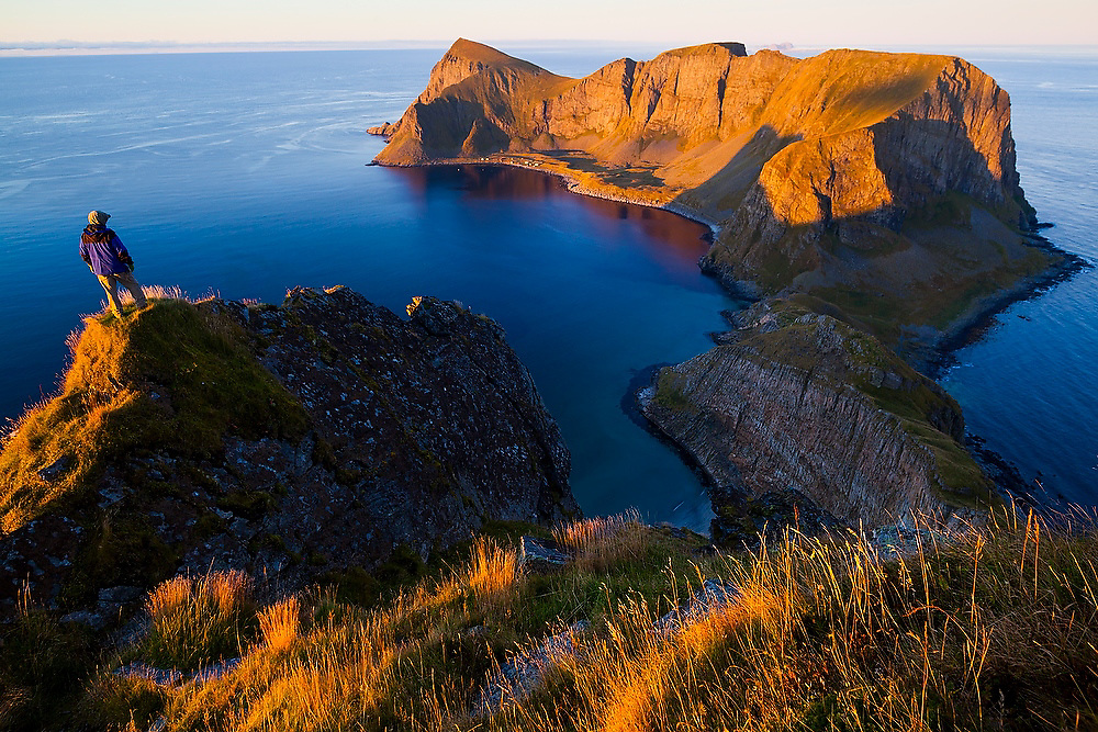 Parmenter Welty looks south towards the abandoned village of Mostad on Vaeroy Island, Lofoten Islands, Norway.