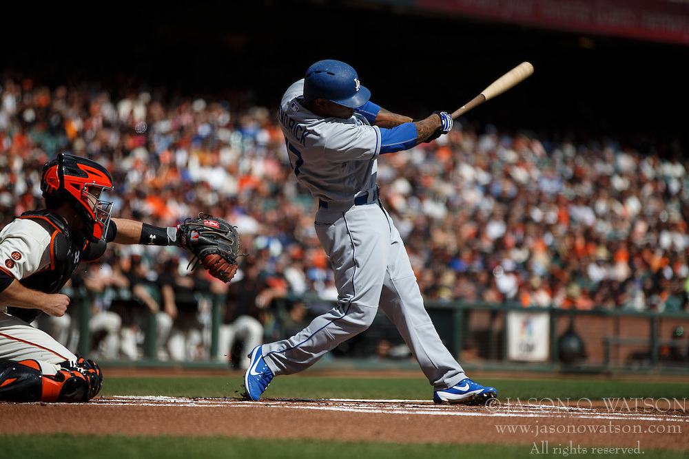 SAN FRANCISCO, CA - OCTOBER 02: Howie Kendrick #47 of the Los Angeles Dodgers at bat against the San Francisco Giants during the first inning at AT&T Park on October 2, 2016 in San Francisco, California. The San Francisco Giants defeated the Los Angeles Dodgers 7-1. (Photo by Jason O. Watson/Getty Images) *** Local Caption *** Howie Kendrick