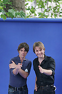 ALEX KAPRANOS AND NICK MCCARTHY, of FRANZ FERDINAND APPEARING AT EDINBURGH INTERNATIONAL BOOK FESTIVAL. Tuesday 22th August 2006. The musicians were appearing to talk with youngsters about the art of song writing. Over 600 authors from 35 countries are appearing at the Edinburgh International Book festival during 12th-28th August. The festival takes place in historic Edinburgh city, a UNESCO City of Literature.