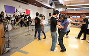 Audience members dance to the music of The Minidoka Swing Band at Mochitsuki 2009, Amo DeBernardis College Center, Portland Community College/Sylvania campus, Portland, Oregon