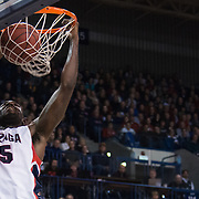 Sam Dower, Jr. dunks against New Mexico State at the McCarthey Athletic Center. (Photo by Gonzaga University.)