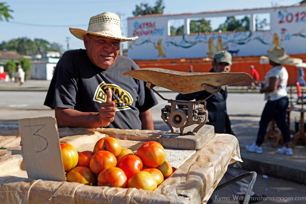 Central America, Cuba, Santa Clara. Tomatoes and a scale to weigh them at the local farmer's market in Santa Clara, Cuba.