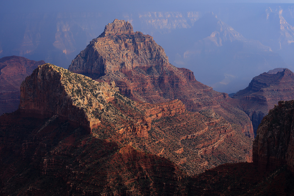 Vishnu Temple (the large pyramid shaped peak) amd Freya Castle (middle left) as viewed from the North Rim of Grand Canyon National Park in Arizona.