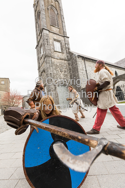 Repro Free no charge for use<br /> <br /> 4-4-17<br /> <br /> Official opening of Kilkenny&rsquo;s Medieval Mile Museum<br />  <br /> Today, Tuesday April 4th  at 12.15pm, Patrick O Donovan, Minister for Tourism and Sport officially opened Kilkenny&rsquo;s Medieval Mile Museum by cutting a ribbon at the door of the former St Mary&rsquo;s Church (St Mary&rsquo;s Lane, Kilkenny). The Medieval Mile Museum, commissioned by Kilkenny County Council, represents an investment of &euro;6.5 million, with significant assistance from Failte Ireland&rsquo;s Capital Programme and additional funding from Kilkenny Civic Trust. <br /> <br /> Pictured at the opening are members of Deise Medieval Barbra Power (front) Gavin Murphy, Chris Sliwa and Patrick Dunne. <br /> <br /> Picture Dylan Vaughan.