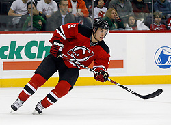 February 18, 2008; Newark, NJ, USA;  New Jersey Devils left wing Zach Parise (9) turns up ice during the third period at the Prudential Center in Newark, NJ. The Devils beat the Hurricanes 5-1.