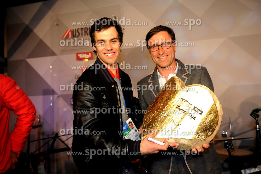14.02.2014, Austria Tirol House, Krasnaya Polyana, RUS, Sochi, 2014, im Bild SANDRO VILETTA, MIT JOSEF MARGREITER ( TW ) // SANDRO VILETTA, MIT JOSEF MARGREITER ( TW ) during the Olympic Winter Games Sochi 2014 at the Austria Tirol House in Krasnaya Polyana, Russia on 2014/02/14. EXPA Pictures © 2014, PhotoCredit: EXPA/ Erich Spiess