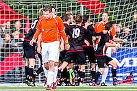 DEN HAAG - HBS - MSC , Sportpark Craeyenhout , Voetbal , Promotie/degradatie topklasse , seizoen 2014/2105 , 28-05-2015 , Speler van MSC Jos Fidom baalt terwijl spelers van HBS feest vieren