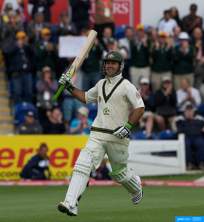 Ricky Ponting celebrates his century during the England V Australia  Ashes Test series at Cardiff, Wales, on Thursday, July 09, 2009. Photo Tim Clayton.