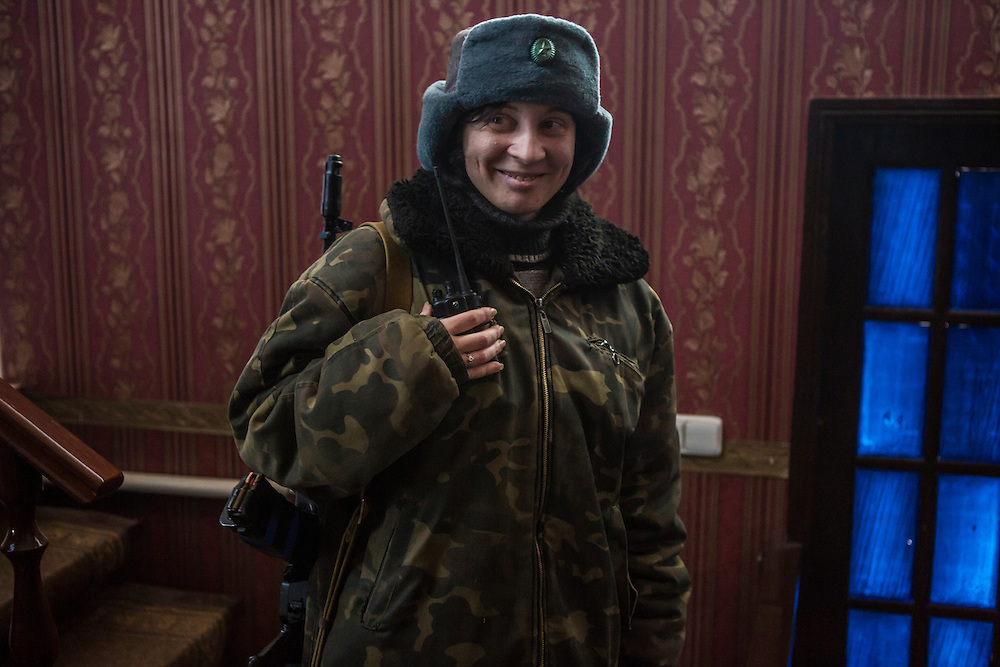 GORLOVKA, UKRAINE - JANUARY 31, 2015: Ira, a rebel fighter, inside a house used as a rebel base behind front-line positions in Gorlovka, Ukraine. Fighting in Ukraine has intensified over the last week, with rebels declaring the end of a September ceasefire. CREDIT: Brendan Hoffman for The New York Times