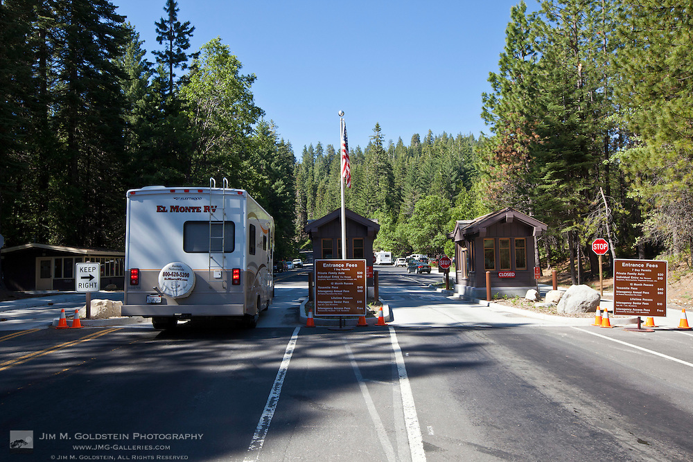 Visitors pass through the entrance gate of Yosemite National Park