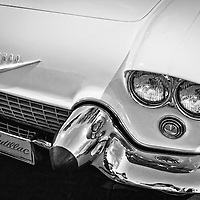 A B&W Night of Vintage Cars on the Santa Fe Plaza