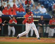 Ole Miss' Zach Miller bats vs. Auburn during the Southeastern Conference tournament at Regions Park in Hoover, Ala. on Friday, May 28, 2010.  (AP Photo/Oxford Eagle, Bruce Newman)