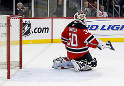February 20, 2008; Newark, NJ, USA;  New Jersey Devils goalie Martin Brodeur (30) makes a save during the first period at the Prudential Center in Newark, NJ.