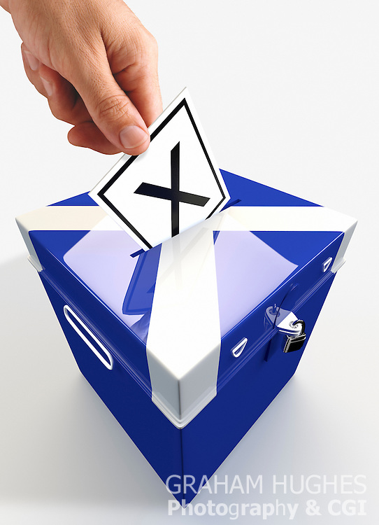 """Male hand placing """"X"""" Voting slip in hole in lid of St Andrews Cross Ballot Box."""