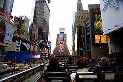 Times Square, New York City, as seen from the top of a tourist bus, in November 2001.
