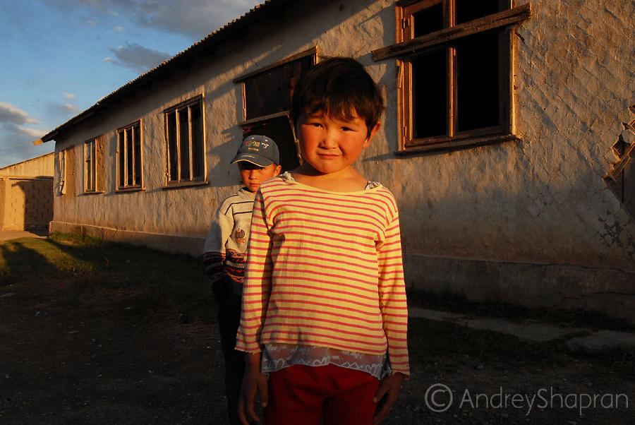 A portrait of Kyrgyz kids