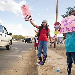 092712       Brian Leddy.Sandra Long and several other protest along the main drag in Crownpoint Thursday evening as a meeting between Uranium Resources Inc. and the Nuclear Regulatory Commission comes to end.