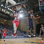 Delaware 87ers Guard DERRICK BYARS (14) drives towards the basket as Salt Lake City Stars Forward DEANDRE' BEMBRY (91) defends in the first half of an NBA D-league regular season game between the Delaware 87ers and the Salt Lake City Stars (Utah Jazz) Friday, March 17, 2017 at The Bob Carpenter Sports Convocation Center in Newark, DEL
