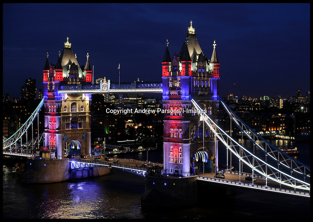 London's Tower Bridge is lit up with a new dynamic lighting system in readiness for The Queen's Diamond Jubilee and the 2012 London Olympic Games Wednesday May 30, 2012.  Photo By Andrew Parsons/i-Images.
